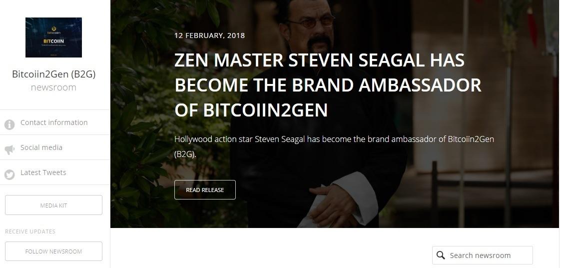 Steven Seagal saat Diumumkan menjadi Ambassador resmi Bitcoiin2Gen
