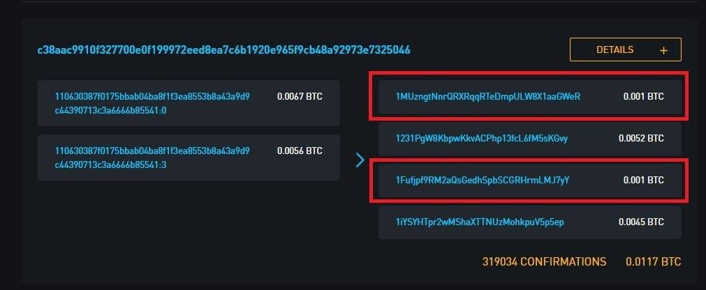 Contoh transaksi Coin Join / Coin Mixing dengan 2 pihak