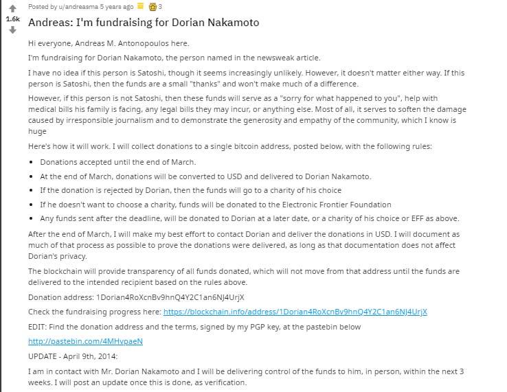 Posting penggalangan dana untuk Dorian Nakamoto