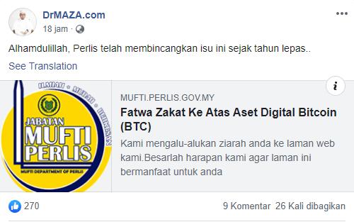 Posting mufti Perlis,tentang fatwa bitcoin dikenakan zakat